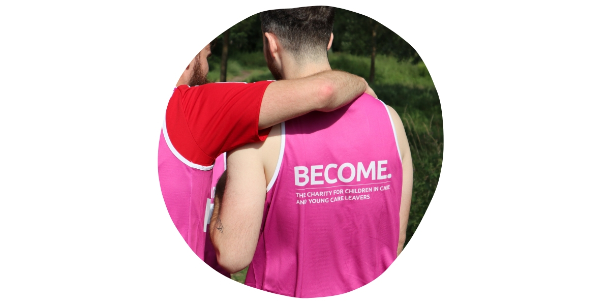 Back of a runner wearing a Become running vest