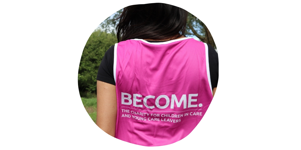 Back of person wearing Become running vest