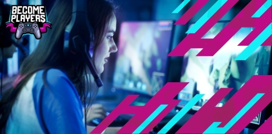 Young woman gaming on a PC